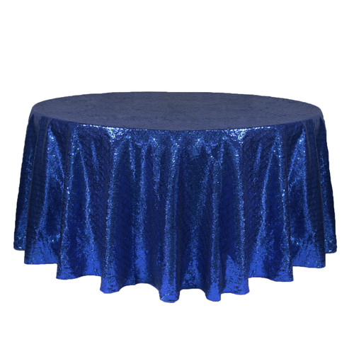 132 inch Round Glitz Sequin Tablecloth Navy Blue