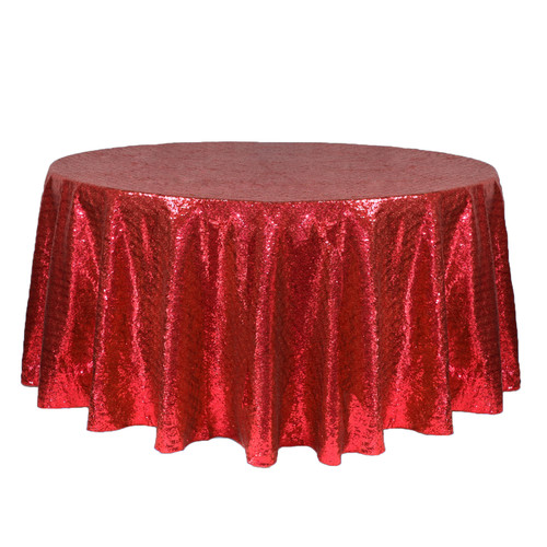 132 inch Round Glitz Sequin Tablecloth Red
