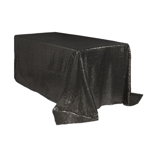 90 x 132 inch Rectangular Glitz Sequin Tablecloth Black