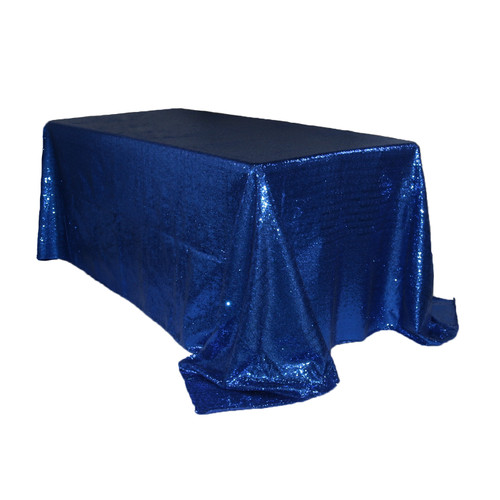90 x 132 inch Rectangular Glitz Sequin Tablecloth Navy Blue