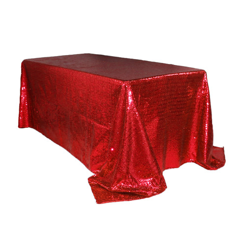 90 x 132 inch Rectangular Glitz Sequin Tablecloth Red