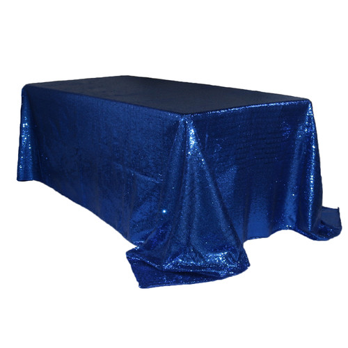 90 x 156 inch Rectangular Glitz Sequin Tablecloth Navy Blue