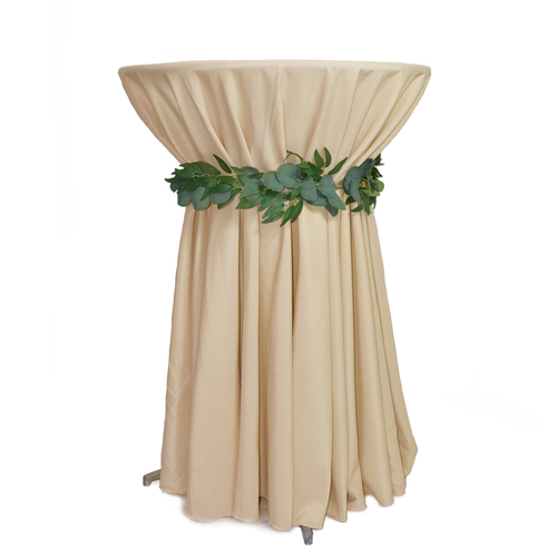 108 Inch Round Polyester Tablecloth Champagne on cocktail table