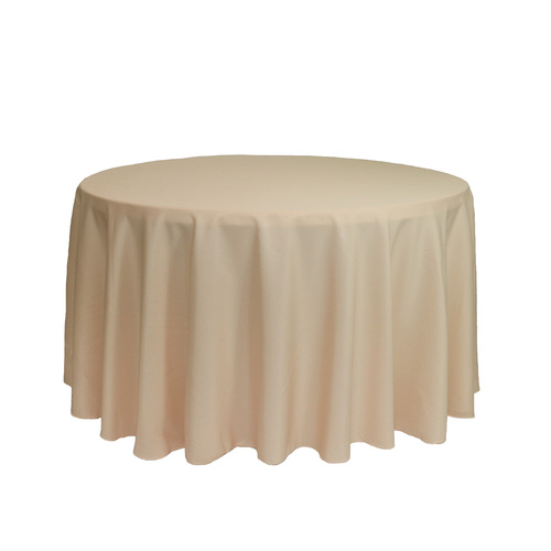 108 Inch Round Polyester Tablecloth Champagne
