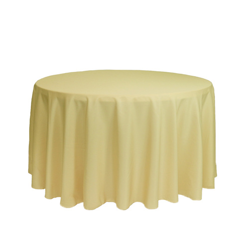 108 inch Round Polyester Tablecloth Pastel Yellow