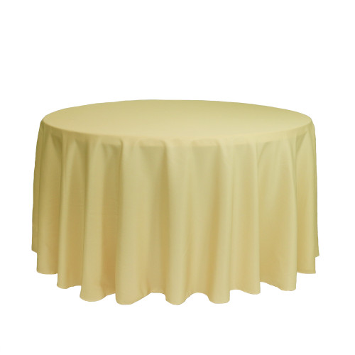 120 Inch Round Polyester Tablecloth Pastel Yellow