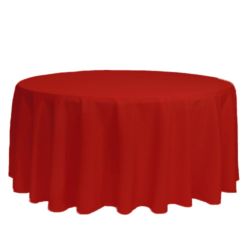 132 inch Round Polyester Tablecloth Red
