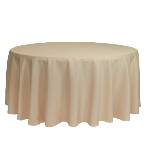 132 inch Round Polyester Tablecloth Champagne