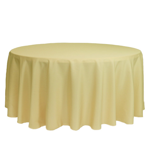 132 inch Round Polyester Tablecloth Pastel Yellow