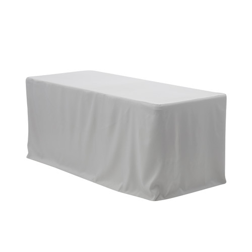 4 FT X 24 Inches Fitted Polyester Tablecloth Rectangular Gray