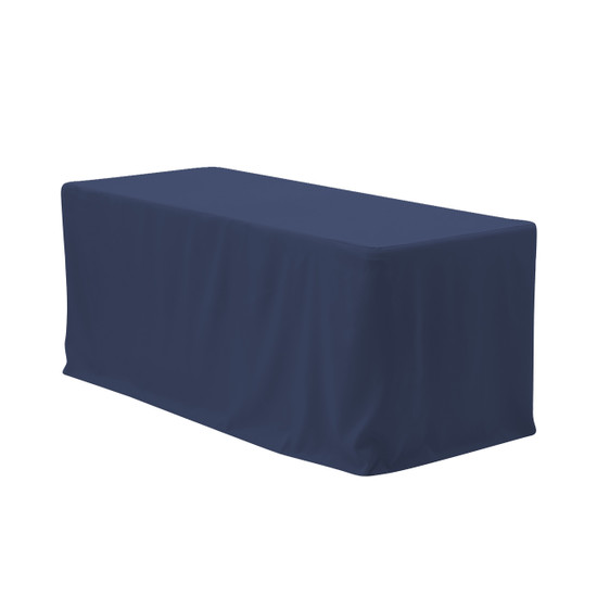 8 ft. Fitted Polyester Tablecloth Rectangular Navy Blue