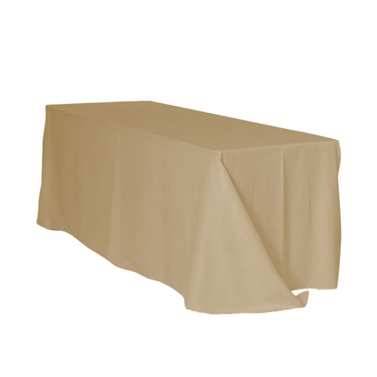 90 x 156 inch Rectangular Polyester Tablecloth Champagne