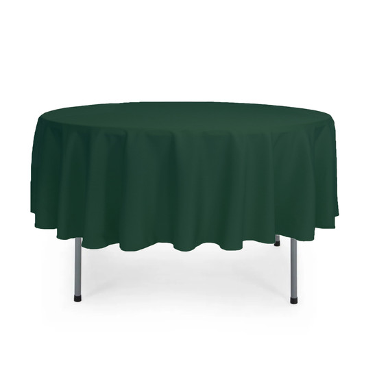 90 inch Round Polyester Tablecloth Hunter Green