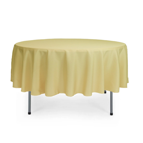 90 Inch Round Polyester Tablecloth Pastel Yellow