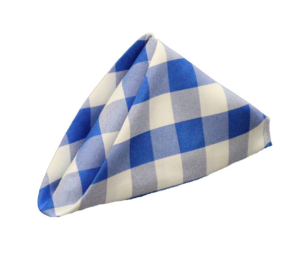 20 inch Polyester Cloth Napkins Checkered Royal Blue