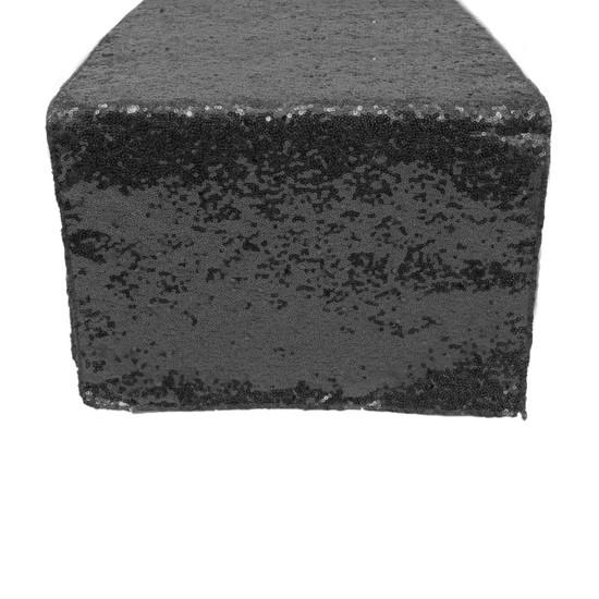 14 x 108 Inch Glitz Sequin Table Runner Black