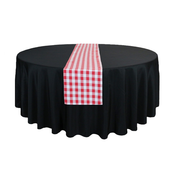 14 x 108 inch Polyester Table Runner Checkered Red On Table