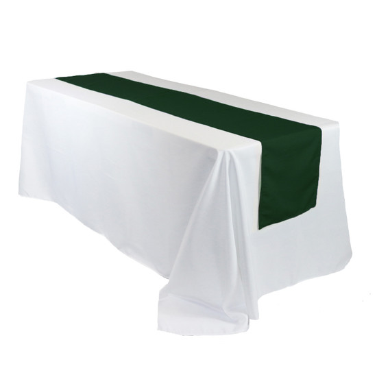 14 x 108 inch Polyester Table Runner Hunter Green on rectangular tables