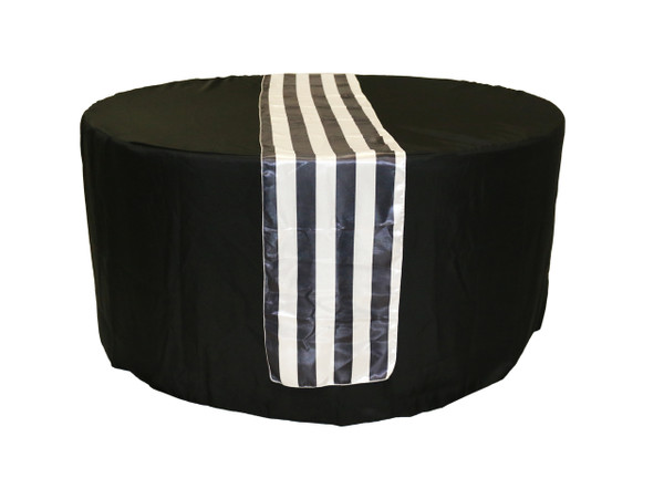 14 x 108 inch Satin Table Runner Black/White Striped table view