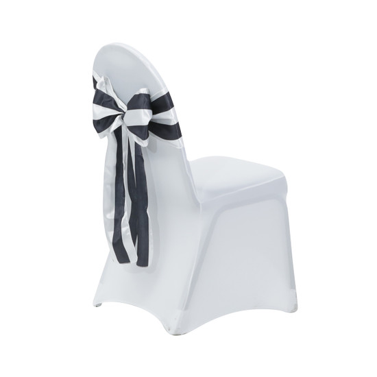 Satin Sashes Black/White Striped for weddings