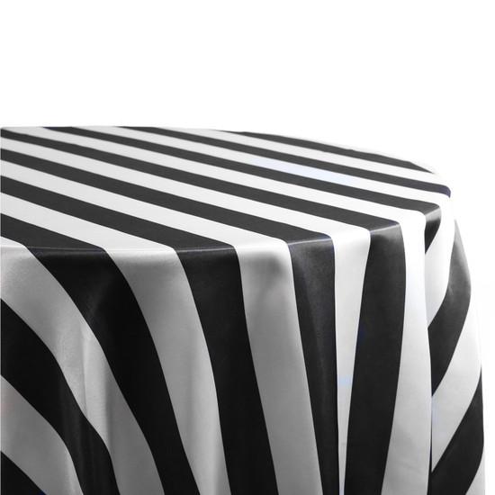 Satin Tablecloth Black/White Striped
