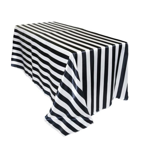 90 x 156 Inch Rectangular Satin Tablecloth Black/White Striped