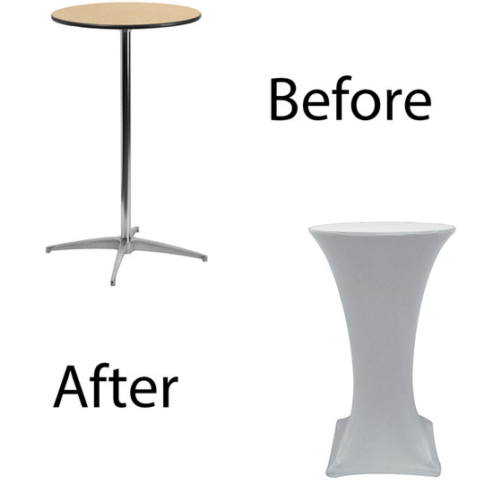 24 inch Highboy Cocktail Round Stretch Spandex Table Cover Silver for Events, Parties, Weddings