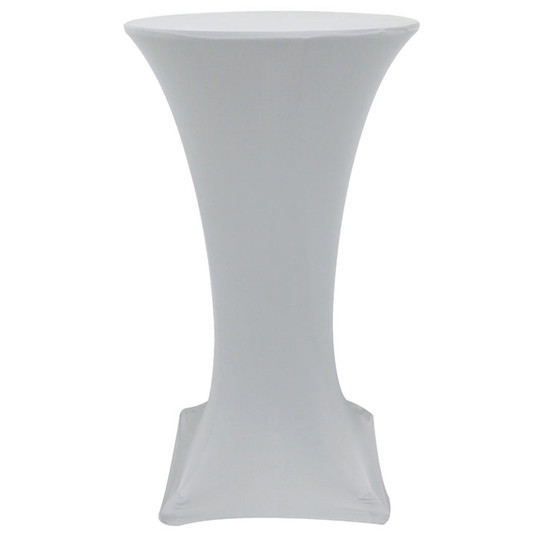 24 Inch Highboy Cocktail Round Stretch Spandex Table Cover Silver