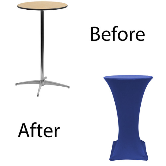 24 inch Highboy Cocktail Round Stretch Spandex Table Cover Royal Blue for Events, Parties, Weddings