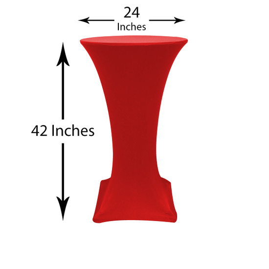 24 inch Highboy Cocktail Round Stretch Spandex Table Cover Red, Wholesale