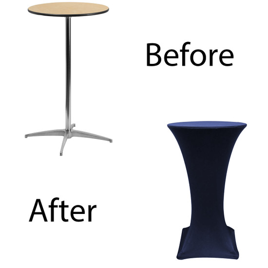 24 inch Highboy Cocktail Round Stretch Spandex Table Cover Navy Blue for Events, Parties, Weddings