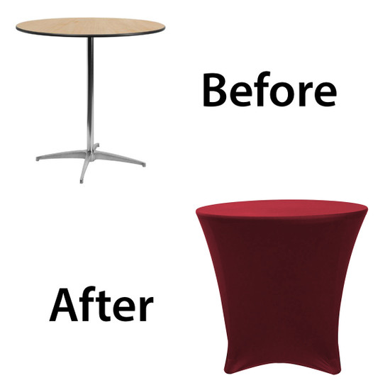 30 x 30 inch Lowboy Cocktail Round Stretch Spandex Table Cover Burgundy for Events, Parties, Weddings
