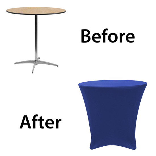 30 x 30 inch Lowboy Cocktail Round Stretch Spandex Table Cover Royal Blue for Events, Parties, Weddings