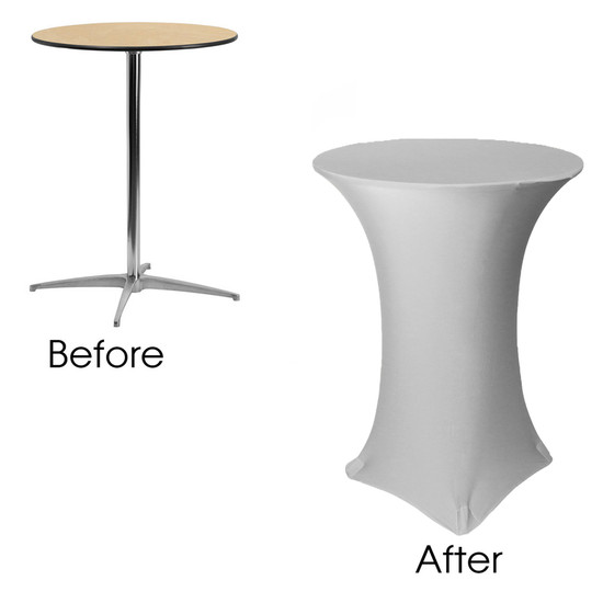32 inch Highboy Cocktail Round Stretch Spandex Table Cover Silver before and after