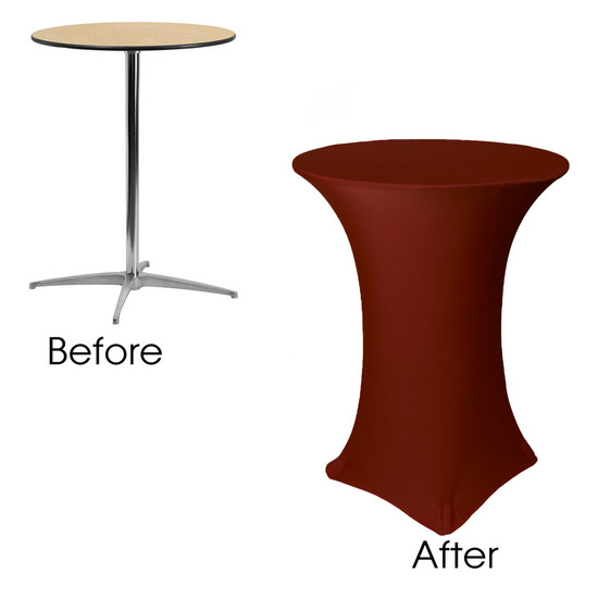 32 inch Highboy Cocktail Round Stretch Spandex Table Cover Burgundy before and after