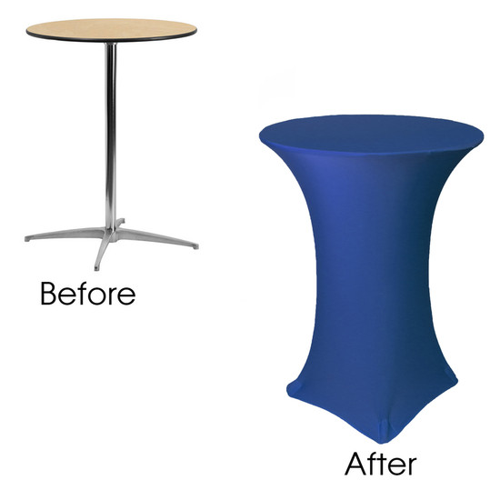 32 inch Highboy Cocktail Round Stretch Spandex Table Cover Royal Blue before and after