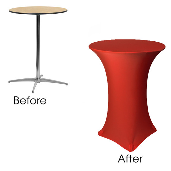 32 inch Highboy Cocktail Round Stretch Spandex Table Cover Red before and after