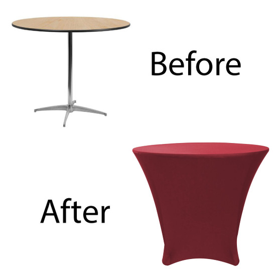 36 x 30 inch Lowboy Cocktail Round Stretch Spandex Table Cover Burgundy for Events, Parties, Weddings