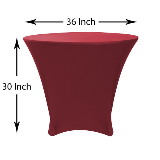 36 x 30 inch Lowboy Cocktail Round Stretch Spandex Table Cover Burgundy, Wholesale