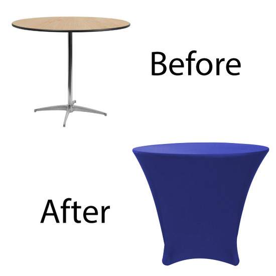 36 x 30 inch Lowboy Cocktail Round Stretch Spandex Table Cover Royal Blue for Events, Parties, Weddings