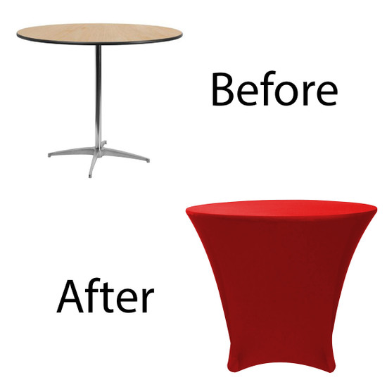 36 x 30 inch Lowboy Cocktail Round Stretch Spandex Table Cover Red for Events, Parties, Weddings