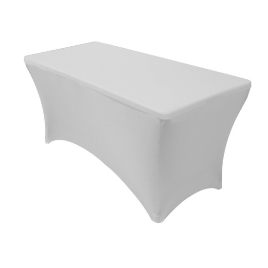 Spandex 4 Ft Rectangular Table Cover Silver