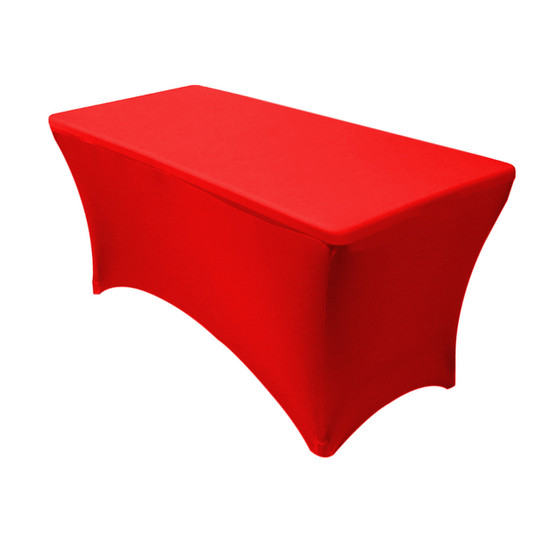 Stretch Spandex 4 ft Rectangular Table Cover Red