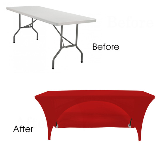 Red Spandex Open Back Table Covers
