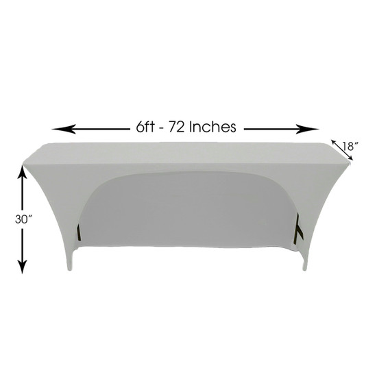 Spandex 6 Ft x 18 Inches Open Back Rectangular Table Cover Silver for Events, Parties, Weddings