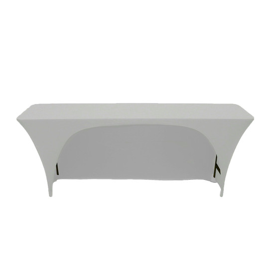 Stretch Spandex 6 ft x 18 Inches Open Back Rectangular Table Cover Silver