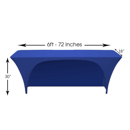 Spandex 6 Ft x 18 Inches Open Back Rectangular Table Cover Royal Blue, Wholesale