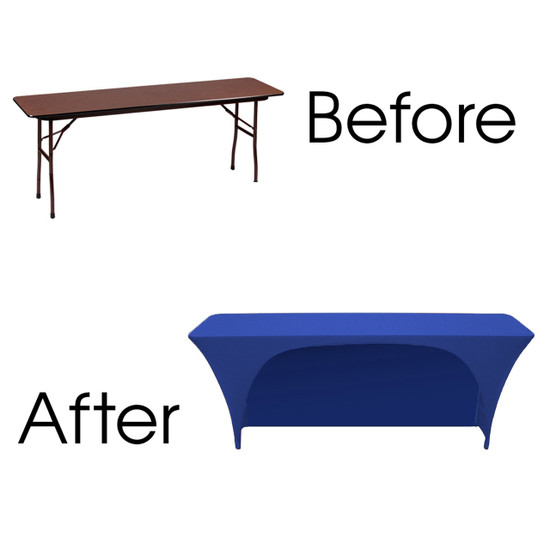 Spandex 6 Ft x 18 Inches Open Back Rectangular Table Cover Royal Blue for Events, Parties, Weddings