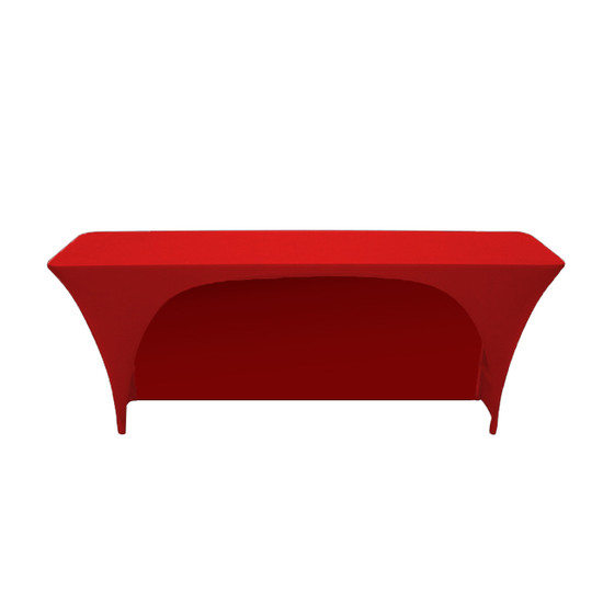 Spandex 6 Ft x 18 Inches Open Back Rectangular Table Cover Red