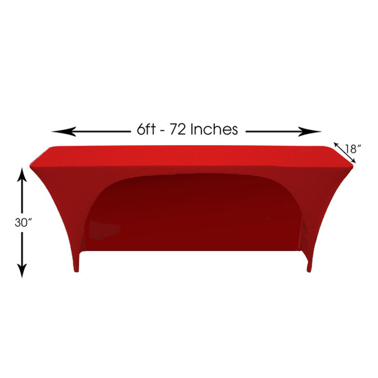 Spandex 6 Ft x 18 Inches Open Back Rectangular Table Cover Red, Wholesale